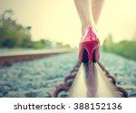female legs in red high heels... | Shutterstock . vector #388152136
