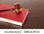 gavel and book on wooden