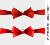 red polka dot bow and ribbon | Shutterstock . vector #388174894