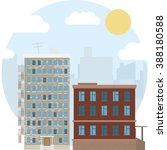 day urban landscape city estate ... | Shutterstock .eps vector #388180588