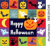 halloween vector icons set.... | Shutterstock .eps vector #388184248