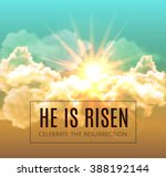 he is risen. easter background. ... | Shutterstock .eps vector #388192144