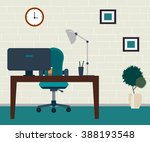 office room. table with... | Shutterstock .eps vector #388193548