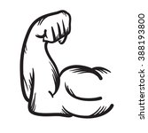 strong arm vector hand drawn... | Shutterstock .eps vector #388193800