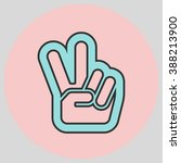 hand with two fingers up in the ... | Shutterstock .eps vector #388213900
