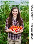 young smiling agriculture woman ... | Shutterstock . vector #388215928
