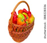 basket with paprika on a white... | Shutterstock . vector #388228336