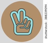 hand with two fingers up in the ... | Shutterstock .eps vector #388239094