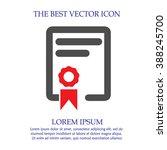 certificate vector icon....   Shutterstock .eps vector #388245700