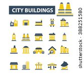 city buildings icons  | Shutterstock .eps vector #388251580