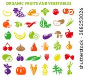 set of fruits and vegetables ... | Shutterstock . vector #388253026