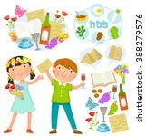 passover cartoons set  kids and ... | Shutterstock .eps vector #388279576