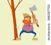 lumberjack with an ax chopping... | Shutterstock .eps vector #388287703