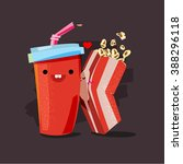 popcorn and soda. character of... | Shutterstock .eps vector #388296118
