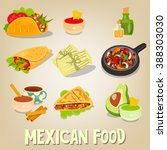 mexican traditional food set.... | Shutterstock .eps vector #388303030