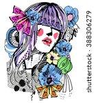 vector girl with flowers | Shutterstock .eps vector #388306279