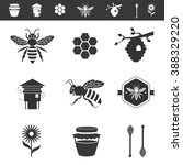 icon set about bees and... | Shutterstock .eps vector #388329220