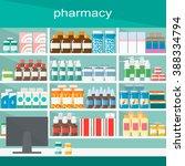 modern interior pharmacy and... | Shutterstock .eps vector #388334794
