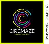 circle maze logotype   letter c ... | Shutterstock .eps vector #388348168