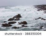 Storm Waves Crash On The Rocky...