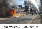 Small photo of Mariano Comense ( Italy ) 03/09/2016: a line bus burning after a breakdown during a normal travel. Fire destroyed it all but all passengers were safe.
