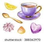 Watercolor Purple Cup Of Tea ...