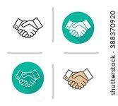 handshake flat design  linear... | Shutterstock .eps vector #388370920
