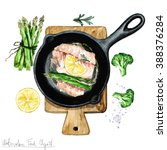 watercolor food clipart   fish... | Shutterstock . vector #388376284