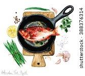 watercolor food clipart   fish... | Shutterstock . vector #388376314