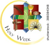 holy week   palm sunday to... | Shutterstock .eps vector #388384348
