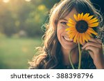 girl in park smiling and... | Shutterstock . vector #388398796