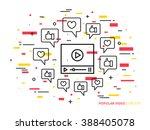 online video player line vector ... | Shutterstock .eps vector #388405078