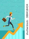 woman running on growth graph.  | Shutterstock .eps vector #388418434