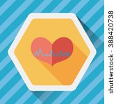 ecg heart flat icon with long... | Shutterstock .eps vector #388420738
