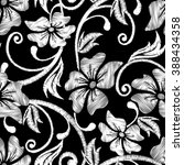 black and white hibiscus...   Shutterstock .eps vector #388434358
