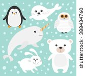 arctic polar animal set. white...