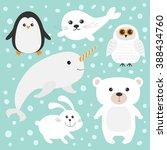 arctic polar animal set. white... | Shutterstock .eps vector #388434760