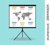 flipchart  whiteboard or... | Shutterstock .eps vector #388440604
