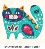 beautiful decorative vector cat ... | Shutterstock .eps vector #388441864