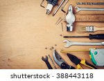 Working Tools On Wooden Rustic...