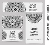 business cards with mandalas.... | Shutterstock .eps vector #388448866