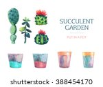 Set Of Watercolor Succulent An...