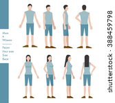 man and woman front  half side  ... | Shutterstock .eps vector #388459798