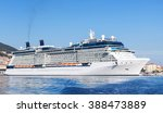 white cruise ship moored in... | Shutterstock . vector #388473889