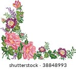 illustration with pink floral frame decoration on white background