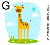 animals. funny giraffe  african ... | Shutterstock .eps vector #388504510