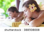 family relaxing in tropical spa.... | Shutterstock . vector #388508008