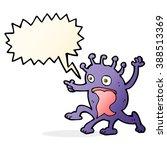 cartoon weird little alien with ... | Shutterstock .eps vector #388513369