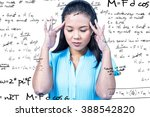 Small photo of Worried businesswoman holding her head against rocket science theory