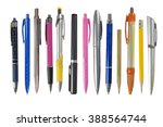 pens and pencils on white... | Shutterstock . vector #388564744